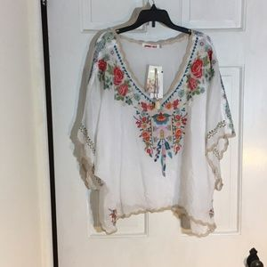 Johnny Was Klarah White Embroidered Top